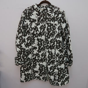 Eddie Bauer White Button Back Floral Jacket